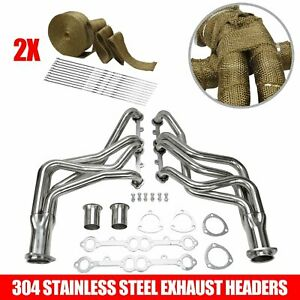 Fits Chevy Truck Header Set Sliver Stainless Steel Chevy Gmc Small Block