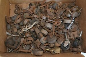 Large Lot Of Antique Furniture Casters Steel Brass Cast Iron Wheels Rolling