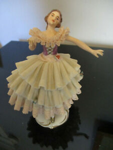 Antique Vintage Dresden Lace Porcelain Ballerina Dancing Lady Figurine Germany 1