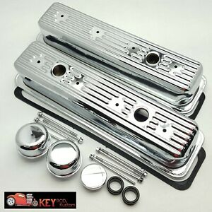 Sbc Tall Chrome Center Bolt Valve Cover Kit 87 00 Tbi Vortec 305 350 Breather
