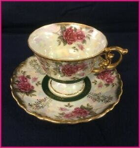 Vintage Footed Tea Cup Saucer With Iridescent Finish And Rose Pattern