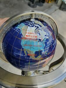 Around 10 Inch Tall Table Top Gemstone World Globe With Stand