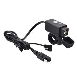 2 1a Motorcycle Usb Adapter Sae Cable Weatherproof Charger Socket Battery Tender