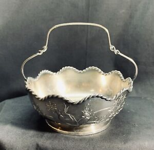 Antique Pairpoint Silver Engraved Plated Handled Basket