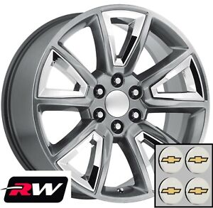 22 X9 Chevy Tahoe Replica Wheels 5696 Hyper Silver Rims With Chrome Inserts