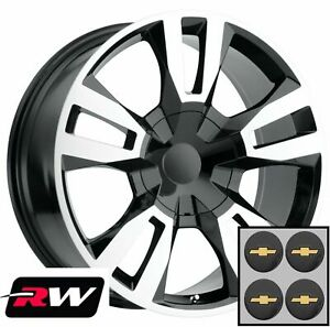 24 Inch Chevy Tahoe Replica Wheels Black Machined Rst Edition Rims 24x10 6x5 50
