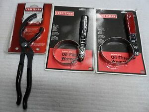 Craftsman Auto Oil Filter Pliers And Wrench Set 2 7 8 To 3 7 8 Usa 3 Pcs