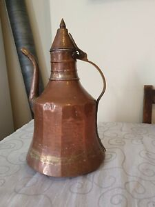 Large Antique Hammered Copper Water Tea Coffee Pot