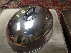 Antique Silver Plate Turkey Cover Food Dome Cloche Serving Piece 16 X 12 5