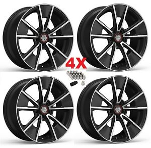 20 Black Milled Machined Wheels Rims Muscle Mustang 5x114 3