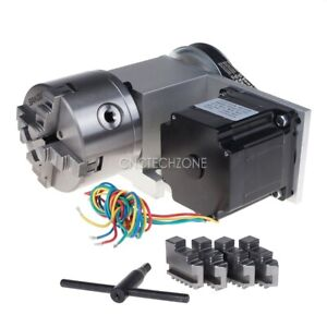 Cnc Router Rotary Axis Indexer 4th Axis 3 1 With 4 jaw Chuck 86 Stepper Motor