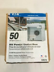 Eaton Temporary 50 Amp Rv Power Panel Outlet Box Heavy Duty Steel 14 50r Chu1s