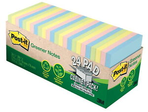 Post it Recycled Notes 3 X 3 Inches Helsinki Colors Pad Of 75 Sheets Pack Of