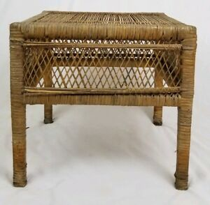 Vintage Wicker Rattan Accent Table Bohemian Tropical Mid Century Style
