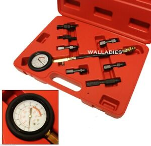 7pc Petrol Auto Engine Compression Tester 300psi Gauge Kit Adaptive