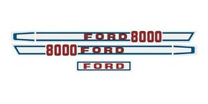 Ford Tractor Hood Decal Kit 8000 Graphics Stickers Set Sides And Back L k