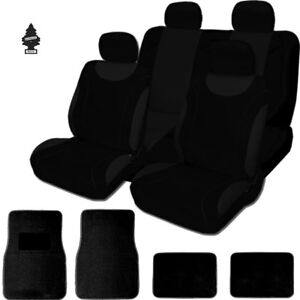 For Bmw New Soft Black Cloth Car Truck Seat Covers With Mats Full Set
