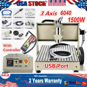 Usb 3 Axis Engraving Machine 1 5kw Spindle Motor Cnc 6040 Router Drill Cutter rc