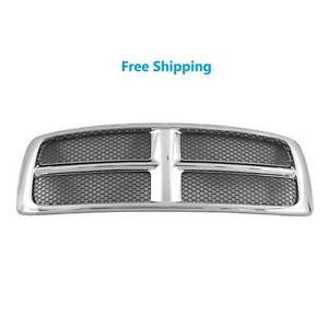 New Chrome Grille For 2002 2005 Dodge Ram 1500 2500 3500 Pickup Ch1200268