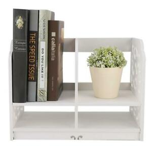 Display Rack Magazine File Books Organizer Desktop Document Sorter Shelf White