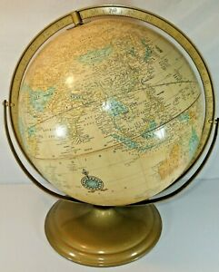 Vintage Cram S Imperial World Globe 12 Diameter With Metal Base Made In Usa