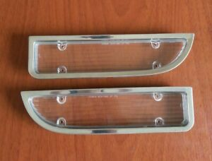 1970 73 Camaro Parking Turn Signal Lamp Lens Pair W Bezel Chrome