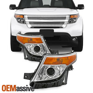 Fit 2011 2015 Ford Explorer Chrome Projector Headlights Complete Replacement Set