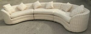 Huge 3 Piece Henredon Mid Century Curved Couch Sofa Sectional Nice