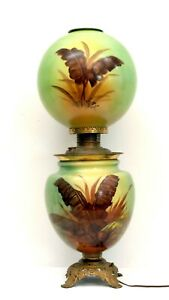 Large Gwtw Hand Painted Victorian Oil Lamp W Fancy Brass Font