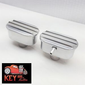 Finned Polished Aluminum Breather Pcv Valve Set Combo Valve Cover Chevy Ford
