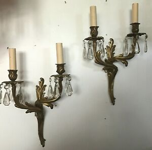 Antique Pair Brass Double Socket Electric Wall Sconces Prisms Louis Xv Style 2