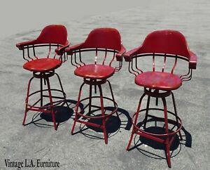 Three Vintage French Country Farmhouse Rustic Red Swivel Bar Stools