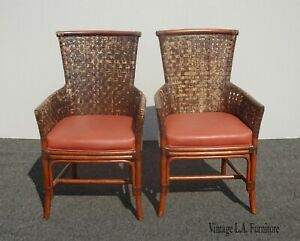 Pair Vintage Bamboo Orange Leather Palecek Accent Chairs Woven Leather Backrests