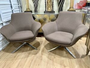 Pair Of Mid Century Swivel Lounge Chairs By Pearson Lloyd Brayton Interatioal