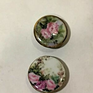 Vtg Pair Of Large 1 Antique Hand Painted Porcelain Buttons Roses Floral Chintz