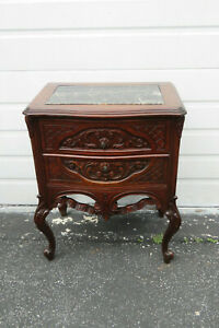 French Heavy Hand Carved Marble Top Nightstand Side End Table 9777