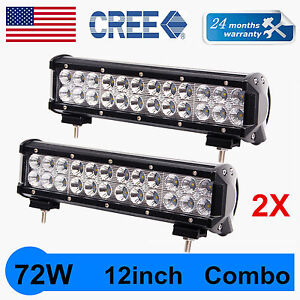 2x 12 Inch 72w Led Light Bar Flood Spot Combo Offroad Work Lights 4wd Truck Atv