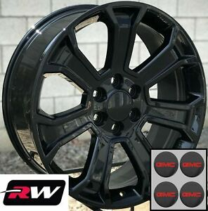 22 X9 Gmc Sierra 1500 Replica 5665 Wheels 2017 2018 Gloss Black Rims 6x139 7