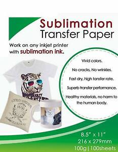 Sublimation Ink Paper 8 5 x11 100 Sheet All Epson Ricoh Sawgrass Printer
