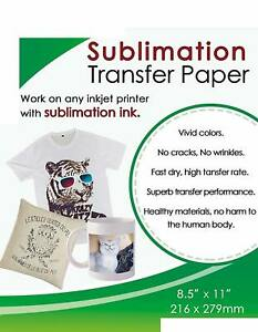 50 Sheets Sublimation Ink Transfer Paper 8 5x11 Epson All Inkjet Printers