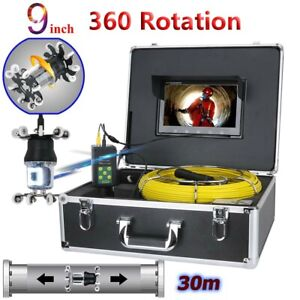 30m Sewer Pipe Pipeline Drain Inspection Video System 9 lcd 360 Degree Camera