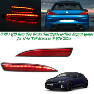 Red Led Reflector Brake Tail Lights W Sequential Signal For 11 15 Vw Scirocco