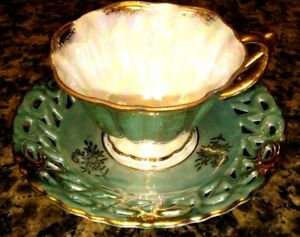 Vintage Tea Cup Saucer Bone China Green With Gold Trim Japan Mint Condition