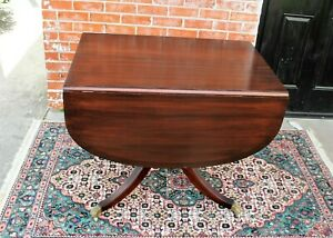 English Antique Mahogany Duncan Phyfe Drop Leaf Small Dining Room Table