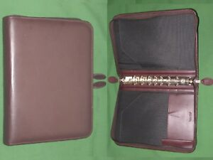 Desk 1 0 Red Leather Day Timer Planner Binder Classic Franklin Covey 8240