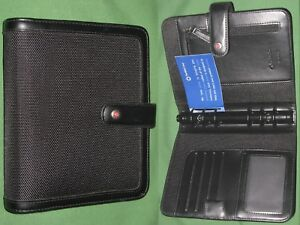 Compact 1 0 Black Nylon S leather Franklin Covey Planner Binder Organizer