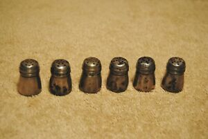 6 Vintage Tiny Sterling Silver Salt And Pepper Shakers