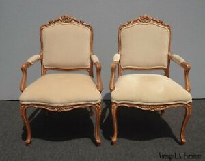 Pair Vintage Designer French Provincial Carved Off White Velvet Accent Chairs
