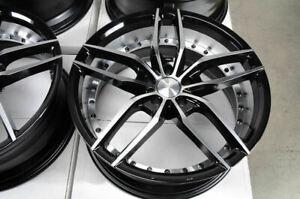19x8 5 19x9 5 5x114 3 Staggered Black Wheels Fits Mustang 370z G37 5 Lug Rims