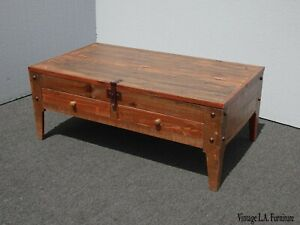 Vintage Spanish Style Brown Coffee Table W Table Top Compartment Made In Mexico